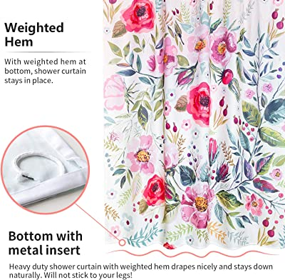 VVA Floral Fabric Shower Curtain and Window Curtain Waterproof Colorful Chic Pink Rose Flower Bathroom Polyester Shower Curtain for Bathtub Showers,72x72 inches