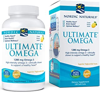 Nordic Naturals Ultimate Omega, Lemon Flavor - 1280 mg Omega-3-120 Soft Gels - High-Potency Omega-3 Fish Oil Supplement wi...