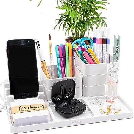 WHINAT ⭐ Organiseur de bureau / Rangement modulable - Support de tel & chargeur USB - Pour l'entrée et tous vos bijoux / montres - Organisateur personnalisable avec pot à crayons - Vide poche (Blanc)
