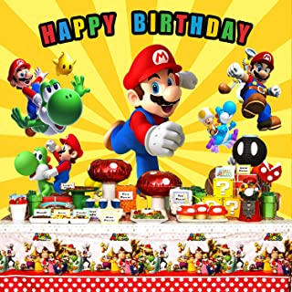Super Mario Backdrop, Super Mario Background,Super Uncle Bros with Mushrooms Photography Background Cartoon Kids Children Birthday Party Banner Baby Shower Decoration Studio Props