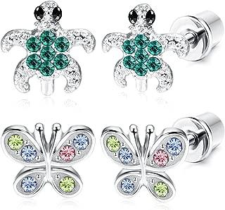 2 Pairs Stainless Steel Turtle Earrings for Girls Women Butterfly Stud Earrings Screwback Silver Tone