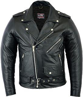 Gentry Choice Men Leather Motorcycle Jacket Brando Style Motorbike Riding Jacket Armored