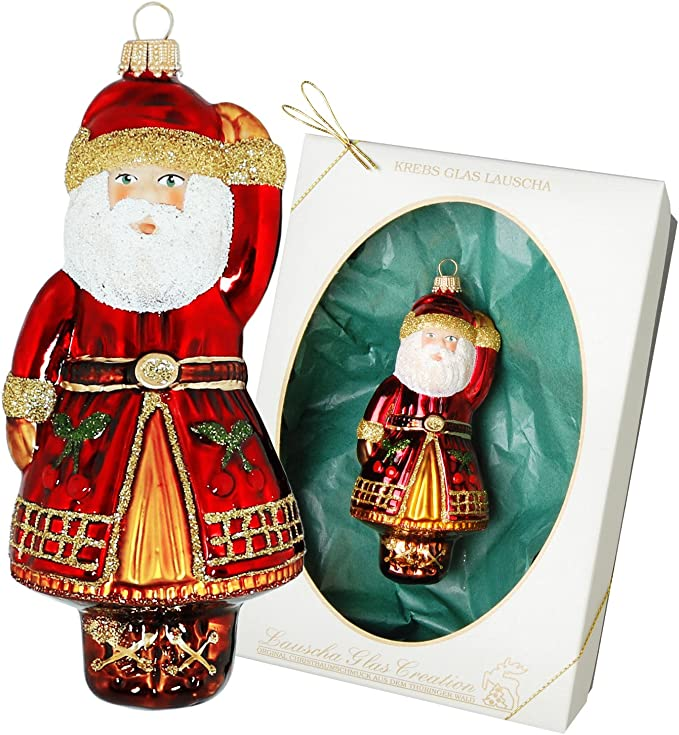 Christbaumschmuck NEU Lauscha Glas mundgeblasen Figur Handarbeit Weihnachtsmann