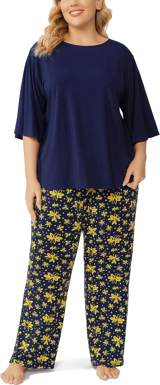 ZERDOCEAN Women's Plus Size Pajamas Set Sleepwear 3/4 sleeve with Long Pants Nightwear Pj Lounge Sets Loose Fit