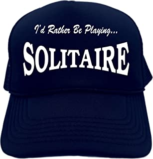 6fe447fdfd3b9 Funny Trucker Hat (I D RATHER BE PLAYING SOLITAIRE ) Unisex Adult Foam Retro