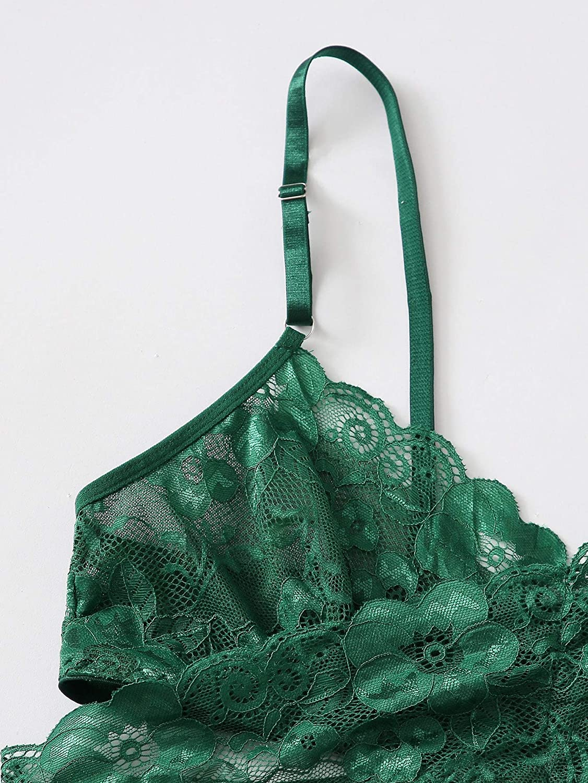SOLY HUX Women's Plus Size Floral Lace Mesh Cami Top Bra and Panty Lingerie Set