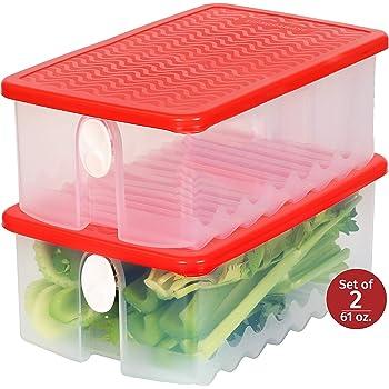 Tuppers de Plástico | Set de 2 Recipientes de Almacenamiento de Frutas y Verduras | Contenedores