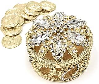 CB Accessories Wedding Unity Coins - Arras de Boda - Round Shaped Box with Decorative Rhinestone Crystals 17 (Gold)