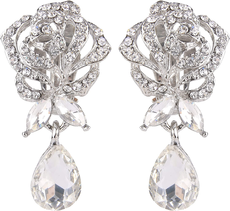 EVER FAITH Women's Austrian Crystal Bridal Romantic Rose Flower Dangle Earrings Clear