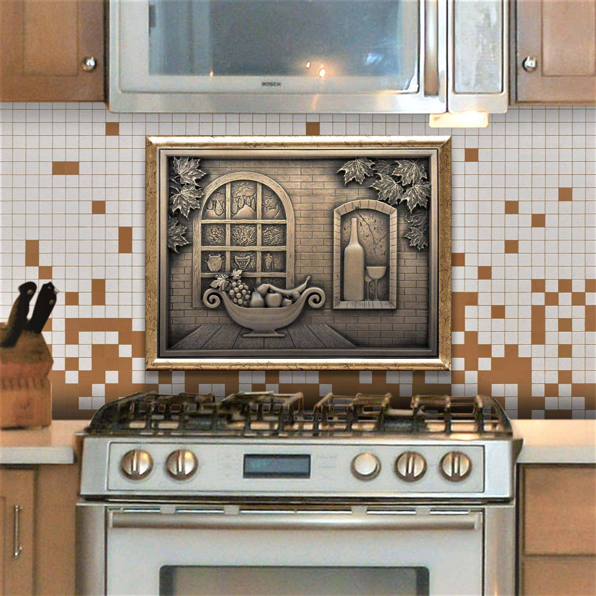Fireplace Wall Accent Metal Resin Mural Plaque Tile Serenade Metal MURAL Wrought Iron Hand Made 18x24 Kitchen Backsplash Medallion or Bathroom
