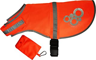 Reflective Dog Vest –Blaze Orange and Reflective Silver– Lightweight Breathable Fabric– Secure Adjustable Elastic Waistband +BONUS Storage Bag LARGE