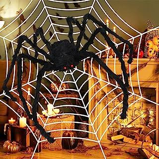 Halloween dekoration skräck utomhus hårig spindel 150 cm lång jättespindel med spindelnät läskig plysch spindlar för hallo...