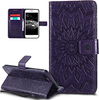 iPhone 8 Plus Case,iPhone 7 Plus Case,ikasus Embossing Mandala Flower Sunflower PU Leather Magnetic Flip Folio Kickstand Wallet Case with Card Slots Case for Apple iPhone 8 Plus/iPhone 7 Plus,Purple
