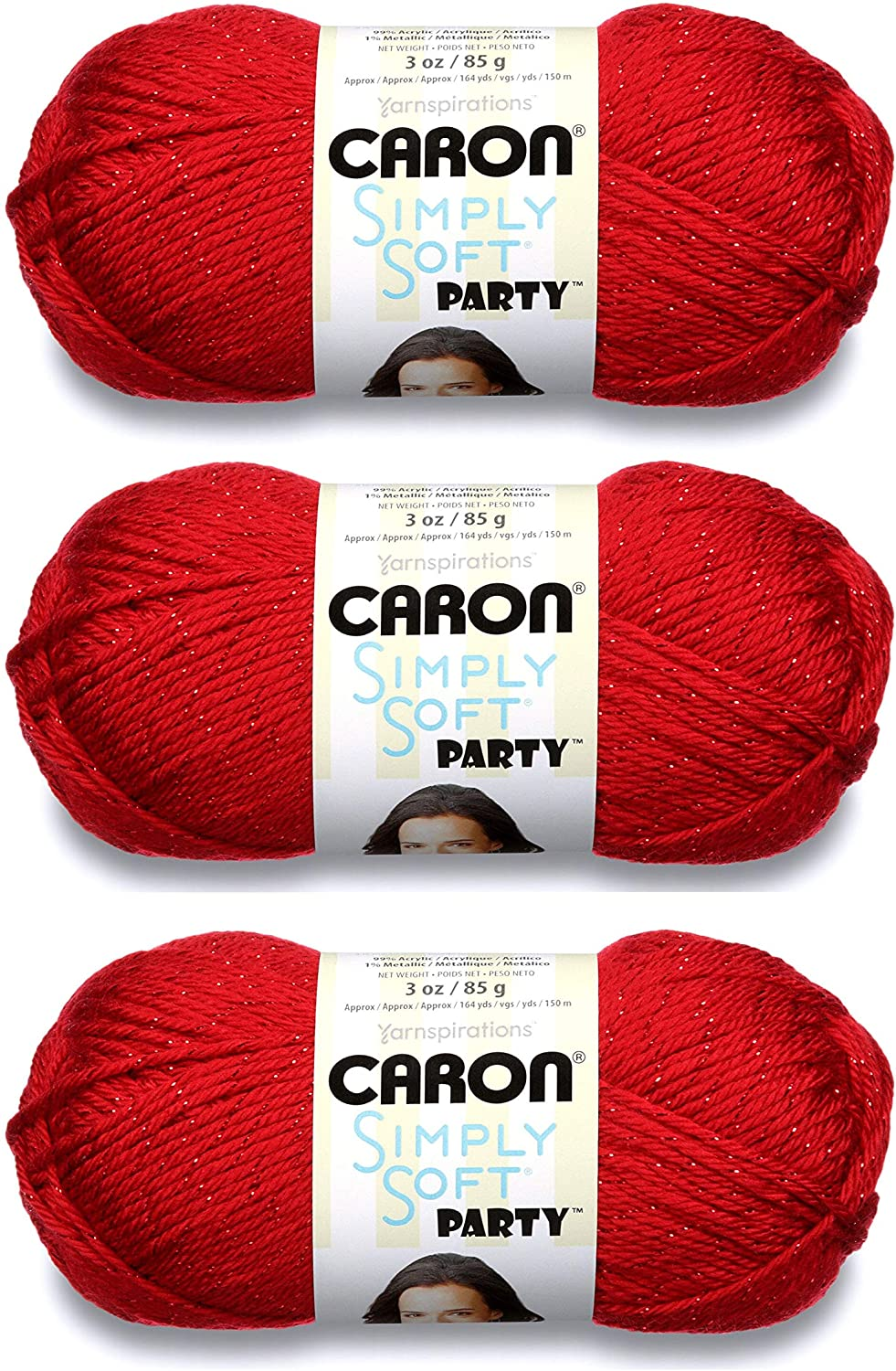 Caron Simply Soft Party Yarn (3-Pack) Rich Red Sparkle H97PAR-15