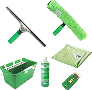 UNGER Window Cleaning Kit 7 Piece PRO Set - Window Squeegee, Microfibre Washer with T-Bar Handle, 18L Bucket, 1L Glass Cle...