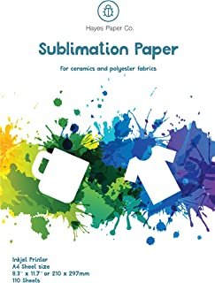 Hayes Paper Co Sublimation Paper Inkjet Heat Transfer Paper (A4, 8.3x11.7, 110 sheets) For Ceramic & Polyester Fabric Surfaces.