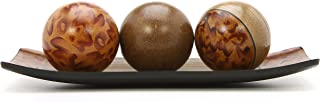 "Hosley's Brown Decorative Tray and Orb/ball Set- 15"" Long, Burlwood Style Finish. Ideal GIFT for Weddings, Party, Spa, Reiki, Meditation O3"