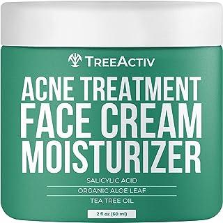 TreeActiv Acne از بین بردن کرم صورت | بهترین عمل زیبایی طبیعی طبیعی برای پاک کردن آکنه صورت | شاداب برای پوست حساس، بزرگسالان، نوجوانان، مردان، زنان | درخت چای | 2 فلوس
