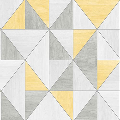 Fine Décor FD42223 UK Apex Wood Grain Wallpaper, Yellow