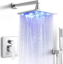 SKOWLL LED Waterfall Shower System Wall Mount shower faucet set Copper rainfall showerhead with Lights Bathroom shower fix...