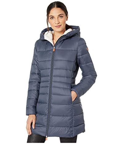 Save the Duck Giga 9 Puffer Coat with Sherpa Lining (Ebony Grey) Women
