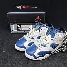 Pair Air Jordan VI 6 Retro Olympic Navy Blue White OG Sneakers Shoes 3D Keychain 1:6 Figure + Shoe Box