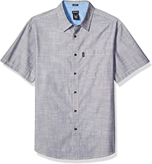 Men's Modern Fit Short Sleeve Chambray Shirt, Rinsed Charcoal, S