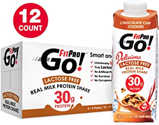 FitPro Go! Real Milk Protein Shake, Chocolate Chip Cookies, 11 Ounce (Pack of 12 - 3, 4 Packs)