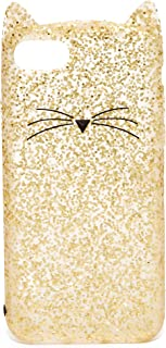 Kate Spade New York Glitter Cat Phone Case for iPhone 7 Cellphone Case Gold Glitter