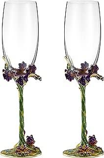 Champagne Flutes Set of 2, Champagne Glasses 7.5oz, Crystal Lead-free Glass Enamel Champagne Glasses