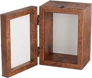 丸和貿易 フォト&クラフトボックス 縦 ブラウン 4008451-02 写真立て 小物入れ 雑貨 木目調