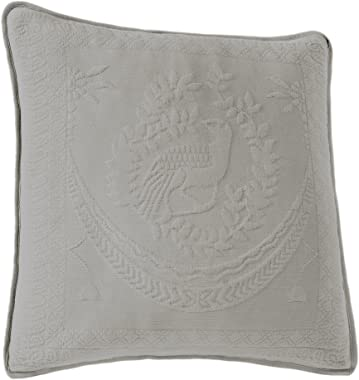 Historic Charleston 13995020X020GRE King Charles Matelasse 20-Inch by 20-Inch Decorative Pillow, Grey
