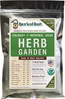 100% Non-GMO Heirloom Culinary and Medicial Herb Kit - 12 Popular Easy-to-Grow Herb Seeds by Open Seed Vault - Includes 12...