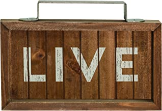 CWI Gifts Live Wood Slat Sign with Metal Handle, Multicolored