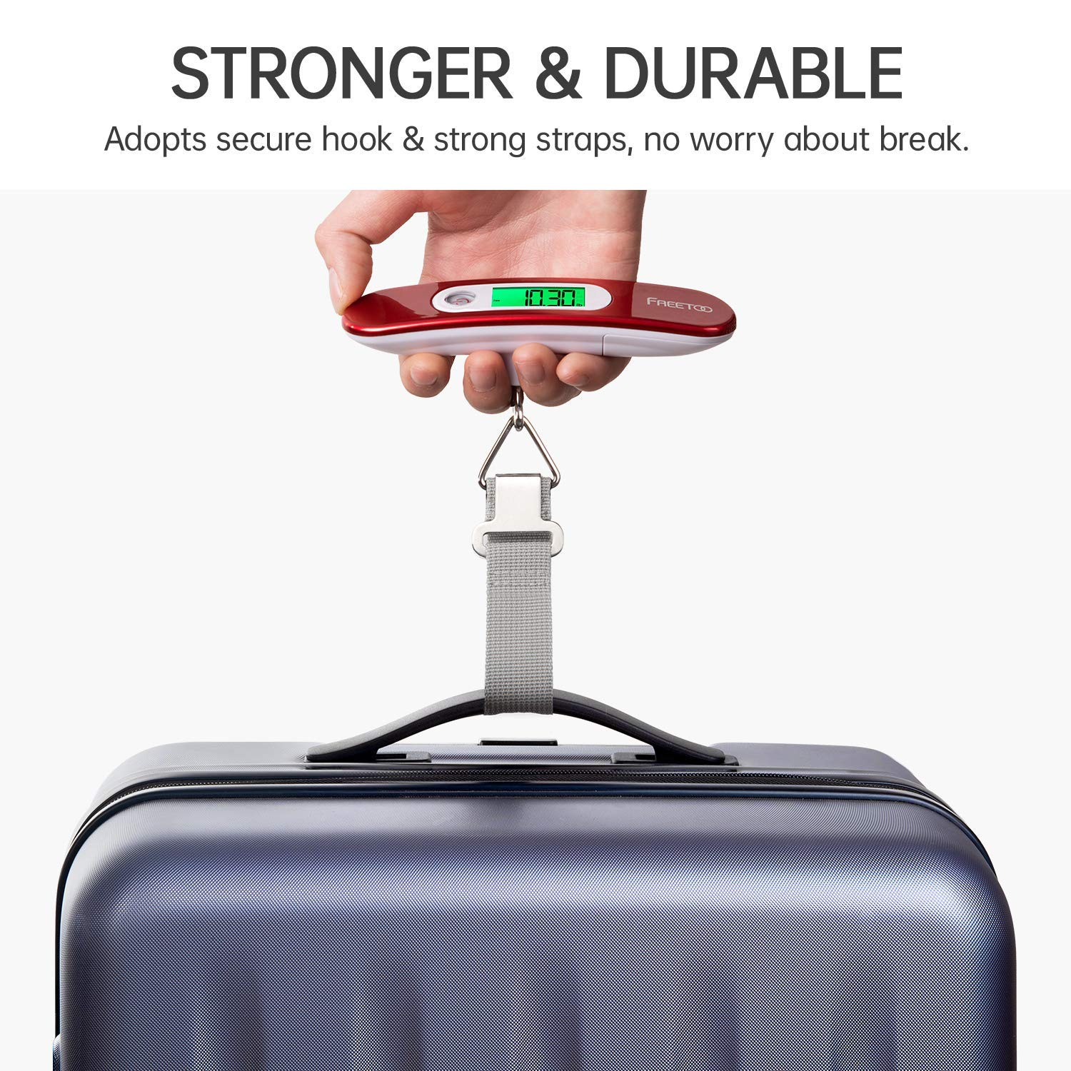 | FREETOO Luggage Scale Portable Digital Hanging Scale for Travel, Suitcase Weight Scale with Superior Piano Lacquer 110 Lb/ 50Kg Capacity, Battery Included | Luggage Scales