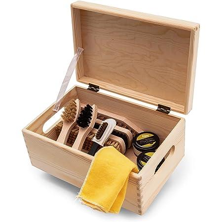Kit d'entretien de chaussures Kit en bois Boîte à valets style Verona, crème à chaussures à base d'eau Kaps avec brosses, fabriquée en Europe, bottes de nettoyage en cuir brillant, 10 pièces