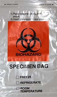 "BioRx Laboratories Specimen Plastic Bag 6"" X 9"" Bio Hazard Bag Zip Lock Plastic Bag Extra Pocket Pack Of 100"