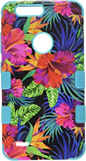 MyBat TUFF Hybrid Case - Cell Phone Case - (Electric Hibiscus/Tropical Teal)