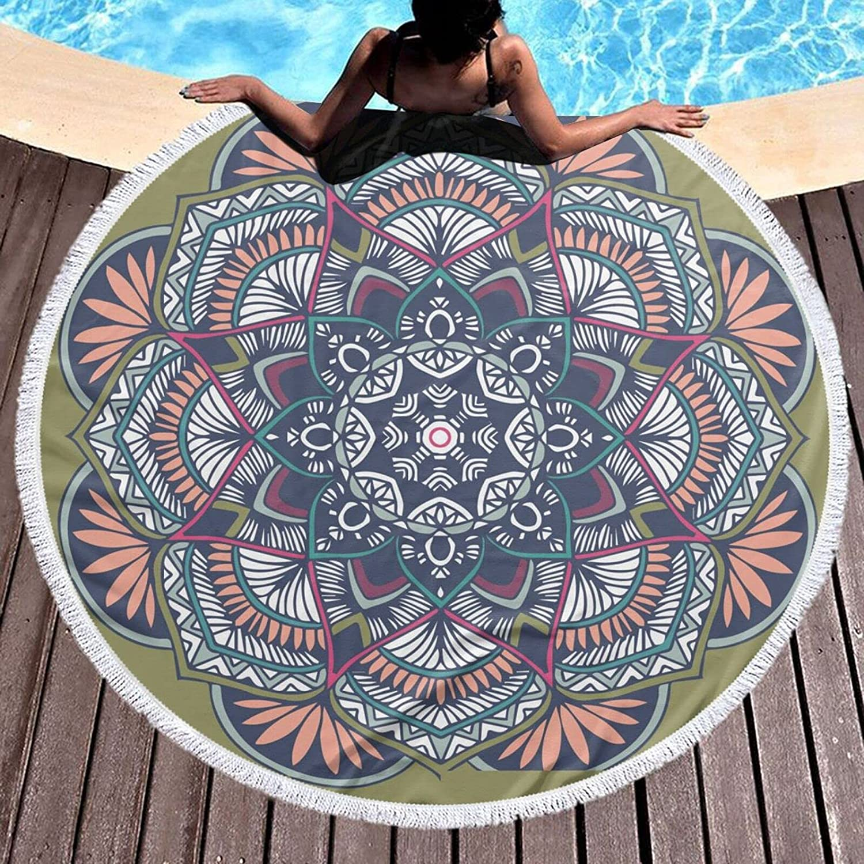 Round Large Boho Mandala Green Surprise price Beach New mail order Blue Soft Skin-Friend Towel