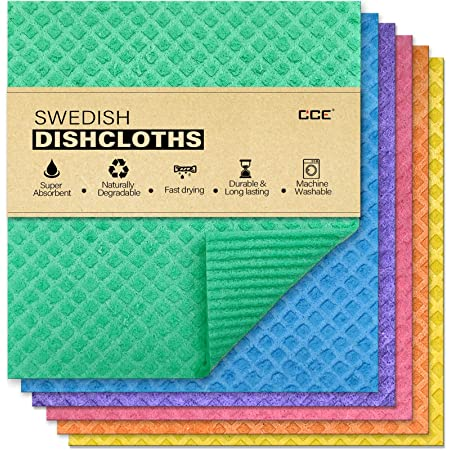 cce Swedish Dishcloths Cellulose Sponge Cloths, 6 Pack Eco-Friendly Reusable Cleaning Dish Cloths for Kitchen, Absorbent Swedish Dish Towels and Dish rag (Dishcloths - Assorted)