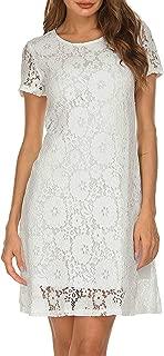 Women's Short Sleeve Floral Lace Elegant Cocktail Party A-Line Mini Dress