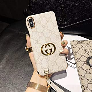 iPhone Xs X Case- US Fast Deliver Guarantee FBA- Luxury Designer Leather Case with Strap for iPhone Xs X