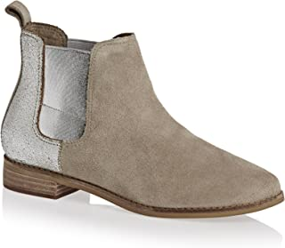 Women's Ella Desert Taupe Suede/Silver Metallic Leather 5 B US