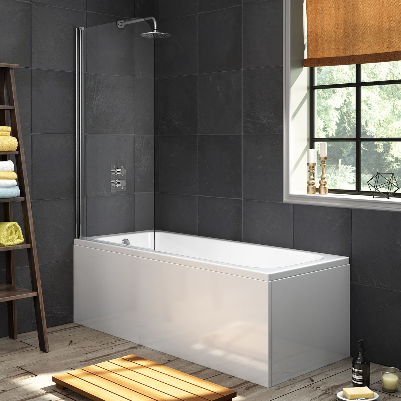 Mampara de ducha para bañera, acrílico, recta, diseño de un solo extremo: iBathUK: Amazon.es: Hogar