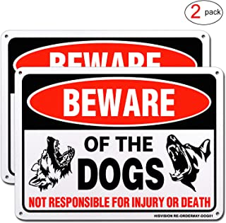 HISVISION Beware of Dog Sign, 2 Pack 10