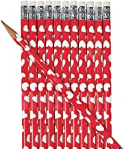 Fun Express - Heart Print Pencils - 2 dz for Valentine's Day - Stationery - Pencils - Pencils - Printed - Valentine's Day - 24 Pieces