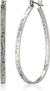 Lucky Brand Textured Medium Oblong Hoops