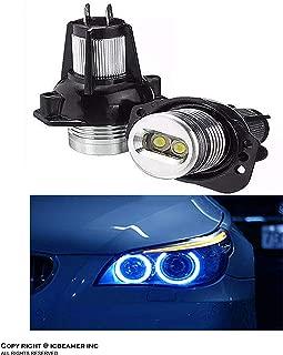 ICBEAMER Fit BMW Angel Eye E90 E91 Headlight Halo Ring Canbus No Error LED Bulbs 10000K Blue Color [1 Pair]