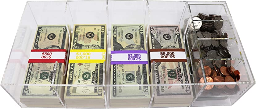 with Locking Cover and Coin Tray Insert Currency Tray Acrylic