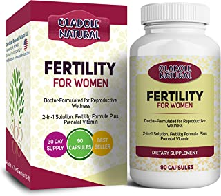 Oladole Natural Fertility For Women Pre-Pregnancy Support Cycle Regularity and Ovulation Multivitamin including Vitamins ...
